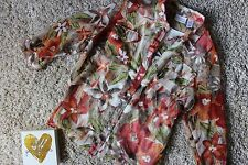 Alfred Dunner Size 18W Sheer Floral Print Blouse & Shell Orange Green Taupe
