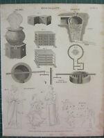 1819 Datato Antico Stampa ~ Miscellany Ghiaccio Casa Ape Hive ~ Malta Mulino
