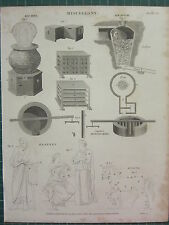 1819 daté impression antique ~ mélanges Ice House bee hive ~ mortier moulin drapé