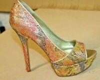 Carlos Santana Size 7.5 Pink Sparkle Glitter Platform Pumps / Stiletto Heels