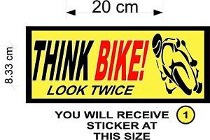 Think Bike, Car Sticker, Van Sticker - Biker Safety, For Car Windows