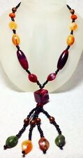 Long Earth-tone Acrylic  Beads Necklace Lariat With Black Glass Accent Beads