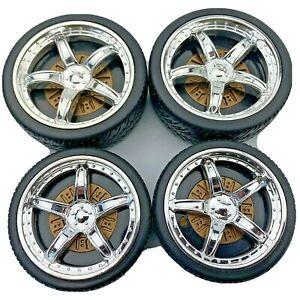 4 Knex Chrome Mag Wheels Tires w/Brakes - Standard K'nex Parts
