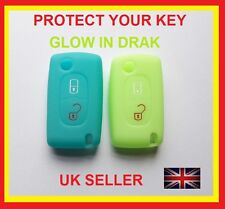 FITS PEUGEOT 107 207 307 406 407 KEY FOB SILICONE COVER 2 BUTTON FLIP KEY CASE