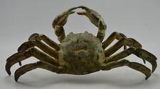 Collectible Vintage Old Handwork Bronze Carved Crab 8 Side Bring Money Statues