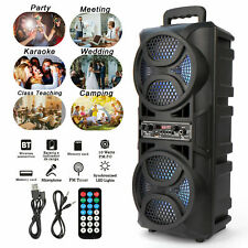 """Dual 6.5"""" Woofer Portable Fm Bt Party Speaker Heavy Bass Sound Remote Mic System"""