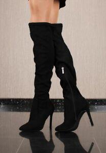 Sexy Damen High Heel Velours Overknee-Stiefel Schwarz #SF-080