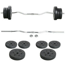 Barbell Weight Set - Olympic Curl Bar & 6 Olympic Weights Gym Lifting Exercise