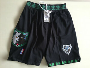 Minnesota Timberwolves Black Retro Basketball Shorts Size: S-XXL