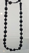 Victorian Whitby Jet & French Glass Necklace W/ Carved Beads Necklace For Repair