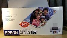 EPSON STYLUS C62 INKJET PRINTER Brand new in box 5760x720 optimized dpi rpm