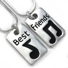 Eighth Note Best Friend Forever BFF Necklace Pendant Music Love Engraved Dog Tag