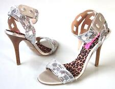 new BETSEY JOHNSON Judson silver jeweled strappy heels shoes 9.5 - very dressy