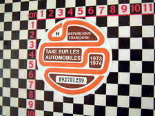 1973/4 imposta francese DISC-CITROEN 2CV DYANE HY Van DS AMI 8 RENAULT 4CV 4 H Ripple
