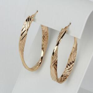 Milor Italy 14k Rose Gold Twist Hoop Earrings