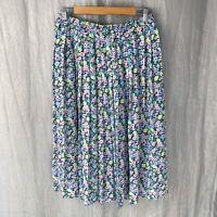 *VINTAGE* FRANKENWALDER Multi Floral SIZE 12/14 UK Flowy Elastic Waist Skirt V2