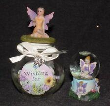 Fairies Wishing Jar Trinket Dish & Snow Dome Fairy Garden Decorative Ornament
