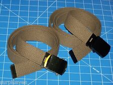 2 Belts Web & Buckle Web Coyote Brown Army USMC Military Style w P38 Can Opener