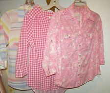 (3) WOMENS XS PETITE CHRISTOPHER & BANKS SONOMA PINK WHITE PLAID FLORAL SHIRTS