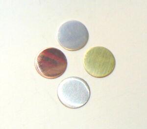 5 x Round blanks jewellery making. Copper Brass Aluminium Silver. All sizes.