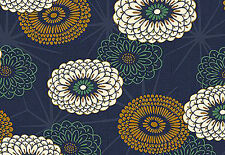 Stylized Mums:  Navy Blue/Gold Asian Japanese Quilt Fabric -1/2 Yd.