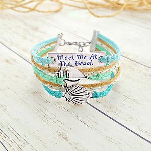 Quote Seashell Sailboat Charm Bracelet, Beach Jewelry, Rope Bracelet, Ocean