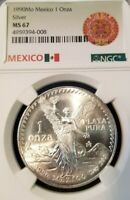 1990 MEXICO SILVER LIBERTAD 1 ONZA NGC MS 67 VERY HIGH GRADE SUPERB LUSTER !