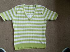 Ladies Lime green and white short sleeve jumper - size 12