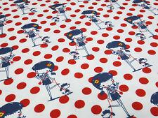 Stoff Baumwolle Jersey Mädchen Hunde Pünktchen Punkte rot weiß blau Kinderstoff
