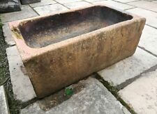 Large Vintage Rustic Buff Clay Trough Reclaimed Agricultural Antique #S27