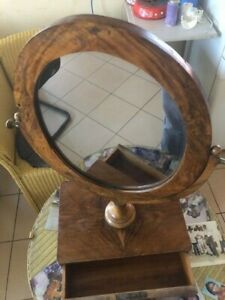 Oak wood mirror with vintage drawers from Germany