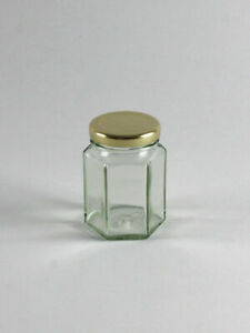 110ml (Hex) Hexagonal Glass Food/Jam Jar + Gold Lid - NEXT DAY DELIVERY