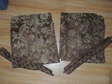 JCP HOME JACOBEAN 2 PANELS & TIEBACKS BROWN GREEN GOLD FLORAL PAISLEY JCPENNEY