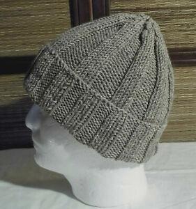 Mens or Womens Handmade 100% Pure Wool Rib Knit Beanie Hat NEW