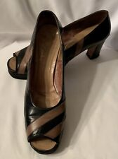 Vintage 1960's Black & Tan Platform Peep-Toe Shoes
