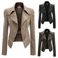 Autumn Women Slim Biker Motorcycle PU Leather Short Zip Jacket Coat Outwear New