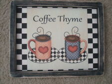 """Primitive Country Print *COFFEE THYME* in black frame 9 1/2"""" x 12"""" FREE SHIP!!"""