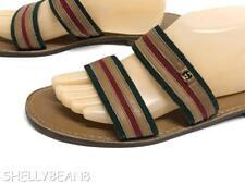 GUCCI GG LOGO Flats SANDALS Slides Shoes RED GREEN STRIPE VTG 44 Mens 10 Wmns 11