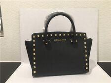MICHAEL Michael Kors Selma Stud Medium Top Zip leather Satchel Black 30T3GSMS2L