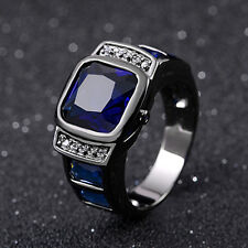 Rare Blue Sapphire Mans Rings Gift Fashion Jewelry 14K Gold Filled Rings Populor