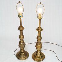 "Stiffel Brass Pair Mid Century Table Lamp 34"" MCM Hollywood Finials Art Deco"