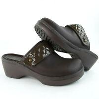 Crocs Women's Cobbler Quilt Strap Brown Leather Clog Womens Size 10 Wide