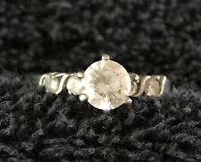 """Sterling Silver ~2 grams """"Diamond"""" Solitaire Four Small Stones Ring Size 8 #19"""