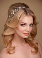 Bridal Crystals & Pearls Tiara Hair Vine Headband Crown Bridal Hair Headpiece