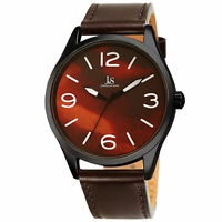 Men's Joshua & Son's JX144BR Burgandy Marble Dial Brown Leather Strap Watch
