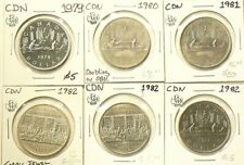 1979 to 1982 Canada $1 Dollar Lot of 6 Unc #4453