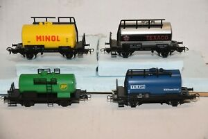 Lot of 4 MARKLIN HO railroad Cars TANKERS blue green yellow silver WEST GERMANY