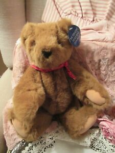 MWT Vermont Teddy Bear Toy Gold Eyes Jointed Great Gift SALE