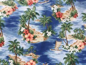 Tropical Paradise Island Hawaiian Fabric  100% Cotton Material    Oeko Tex