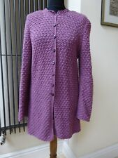 Cardigan Top Pull Lilas Violet 100% Laine Fait Main Taille M